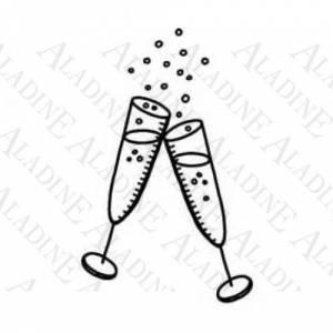 Diseños inmediatos - Sello de Caucho - Copas de champán (01189) (Últimas Unidades)