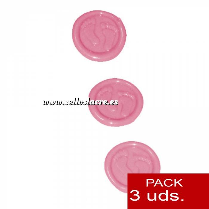 Imagen Sellos adhesivos Sellos de lacre Adhesivos- Pies de bebé rosa 3 uds (Últimas Unidades)