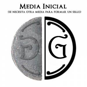 2 Iniciales Intercambiables - Placa Media Inicial G para sello vacío de lacre