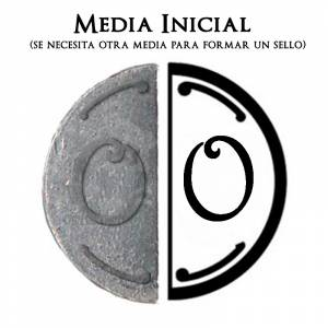 2 Iniciales Intercambiables - Placa Media Inicial O para sello vacío de lacre