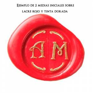 Imagen 2 Iniciales Intercambiables Placa Media Inicial T para sello vacío de lacre
