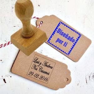 Sello CUADRADO - Sello de Caucho CUADRADO 2x2 cm - Personalizado con tu diseño